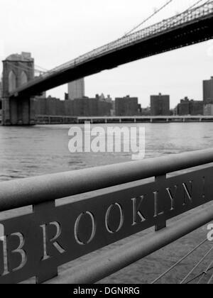 Brooklyn Bridge, Manhattan, New York City, NY, United States of America - Stock Photo