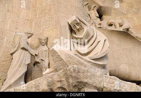 Sculptures, Passion Façade, La Sagrada Familia, Temple Expiatori de la Sagrada Familia, Basilica and Expiatory Church - Stock Photo