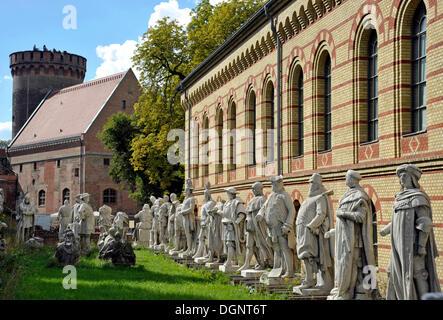 Julius Tower and arsenal, statues from Siegesallee boulevard in Berlin's Tiergarten, Spandau Citadel fortress, Berlin