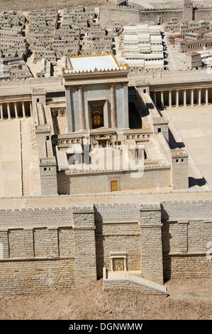 Detail view of the historical model of the city, Second Temple, open-air model at the Israel Museum, West Jerusalem, - Stock Photo