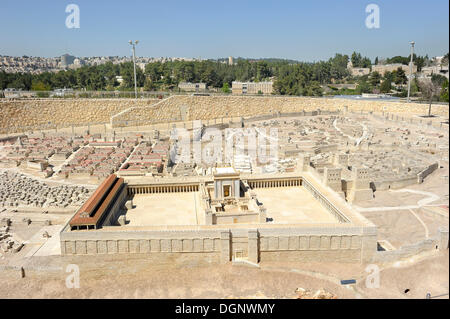 Open-air model of Jerusalem, Ezra Model, city of Herod, at front the Temple Mount with the Second Temple, Israel - Stock Photo