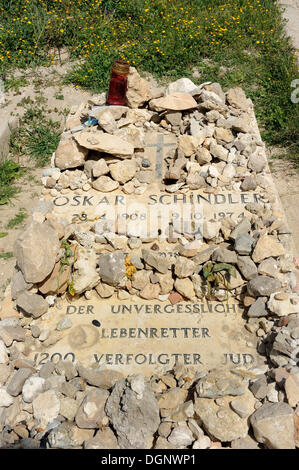Grave of Oskar Schindler, Franciscan cemetery on Mount Zion, Jerusalem, Israel, Western Asia, Middle East - Stock Photo