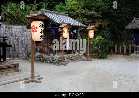 Illuminated paper lanterns in a Shinto shrine, Iwakura, near Kyoto, Kyoto, Japan, East Asia, Asia - Stock Photo