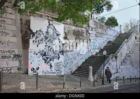 Graffiti on a wall, Bairro Alto, Lisbon, Portugal, Europe - Stock Photo