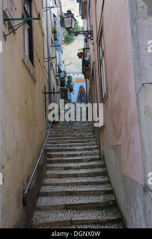 Typical narrow alleyway with stairs and traditional street lights, old town, Alfama, Lisbon, Portugal, Europe - Stock Photo