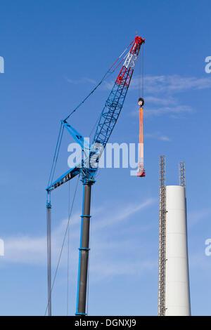Construction of a wind turbine, type Enercon E82, Grosshofen wind farm, Marchfeld, Lower Austria, Austria, Europe - Stock Photo