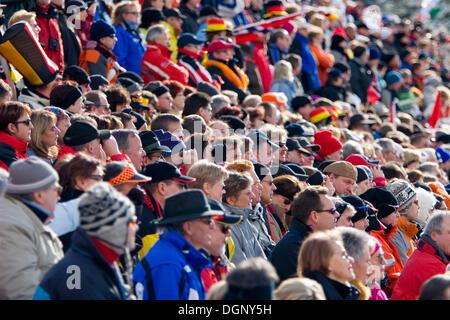 Enthusiastic spectators, Biathlon World Cup, Antholz, province of Bolzano-Bozen, Italy, Europe - Stock Photo