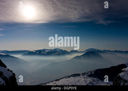 View from Monte Stivo overlooking Rovereto, Trentino-Alto Adige, Italy, Europe - Stock Photo