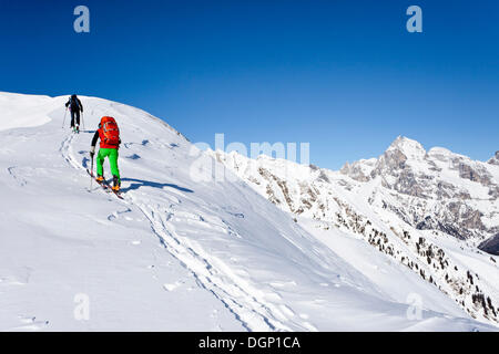 Backcountry skiers climbing Seeberspitz mountain in the Pflerschtal valley, Tribulaun mountain at the back - Stock Photo