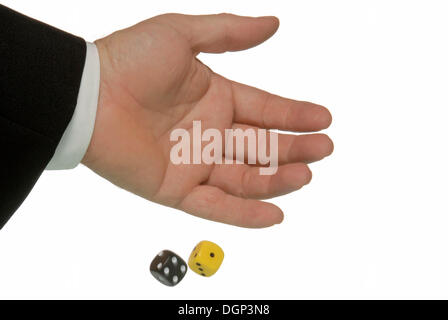 A hand throws a yellow and a black die, symbolic image for a yellow and black coalition, the die is cast - Stock Photo