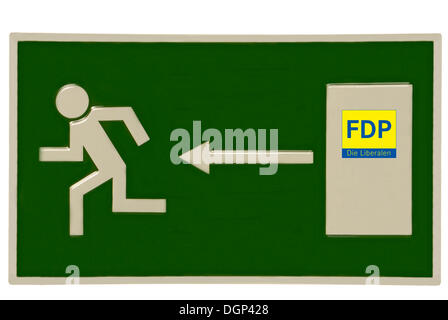 Emergency exit sign with FDP logo on the door, symbolic image for loss of membership in the FDP - Stock Photo