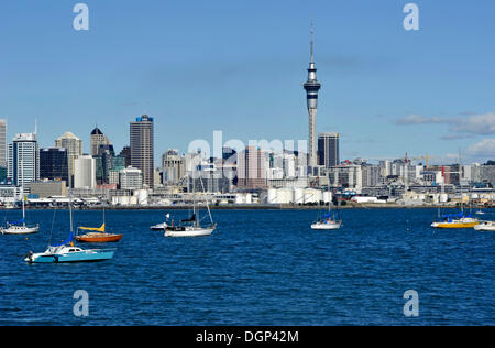 View from Northcote on the skyline of Auckland with the Skytower, Auckland, New Zealand - Stock Photo