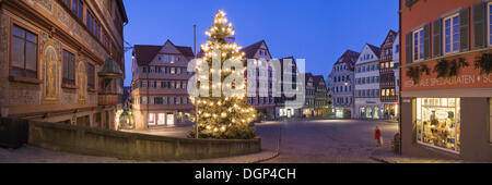 Market Square with town hall during Christmas time, Tuebingen, Baden-Wuerttemberg - Stock Photo