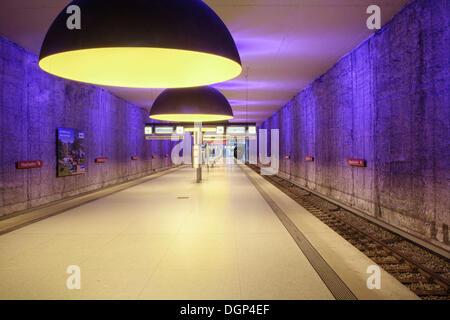 Underground station, Westfriedhof, Munich, Bavaria - Stock Photo