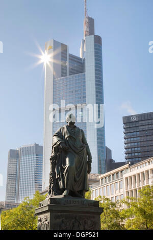 Goethe monument in front of the Commerzbank Tower, Frankfurt, Hesse - Stock Photo