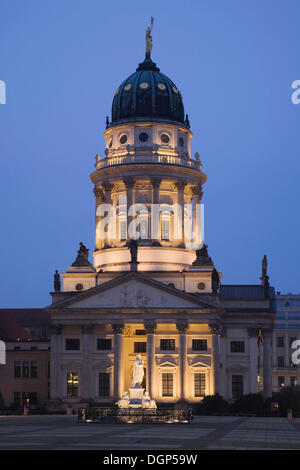 French Cathedral with a Schiller monument at the Gendarmenmarkt square, Mitte, Berlin - Stock Photo