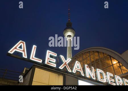 Alexanderplatz S-train station and the Fernsehturm television tower, Berlin - Stock Photo