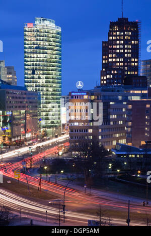 Potsdamer Platz square with DB Tower and Kollhoff Tower, Berlin - Stock Photo