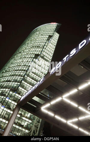 Entrance to Potsdamer Platz train station with the DB Tower, Berlin - Stock Photo