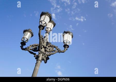 Street-lamp on Plaza de la Virgen, Valencia, Comunidad Valenciana, Spain, Europe - Stock Photo