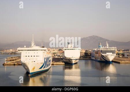 Car ferries in the port of Olbia, Sardinia, Italy, Europe - Stock Photo