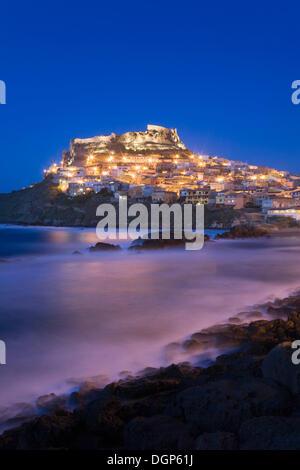 The lights of Castelsardo, Sardinia Italy, Europe - Stock Photo
