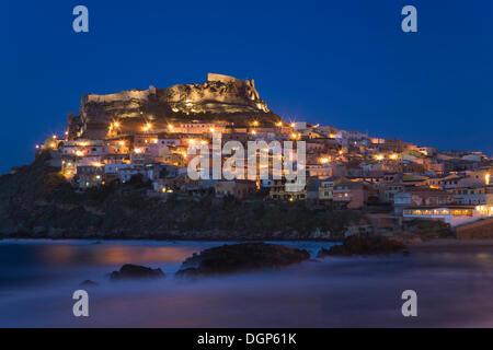 Castelsardo by night, Sardinia, Italy, Europe - Stock Photo