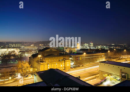 View over the Opera House and State Theatre towards the main railway station, Stuttgart, Baden-Wuerttemberg - Stock Photo