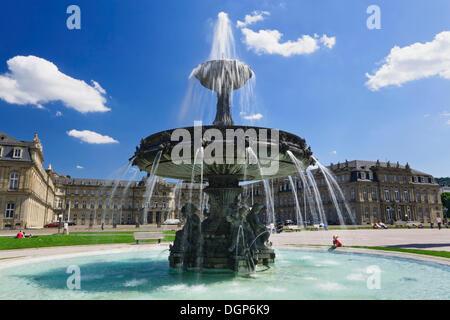 Fountain in front of Neuen Schloss Castle on Schlossplatz square, Stuttgart, Baden-Wuerttemberg - Stock Photo