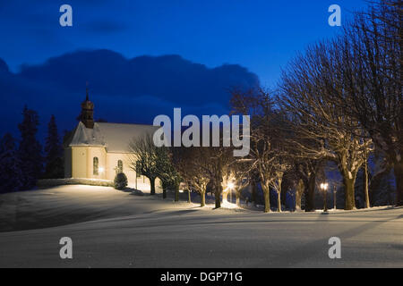 Loretto Chapel near St. Maergen in winter at night, Black Forest, Baden-Wuerttemberg - Stock Photo