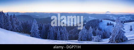 View from the Belchen summit at sunrise in the direction of Feldberg, Black Forest, Baden-Wuerttemberg - Stock Photo