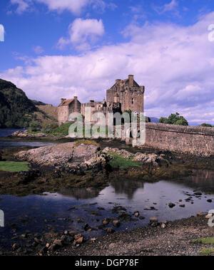 Eilean Donan Castle near Dornie, Western Ross, Loch Alsh, Highlands, Scotland, United Kingdom, Europe - Stock Photo