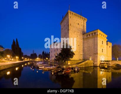 Medieval Rocca fortress with moat in Riva del Garda, Lake Garda, Trentino, Alto Adige, Italy, Europe - Stock Photo