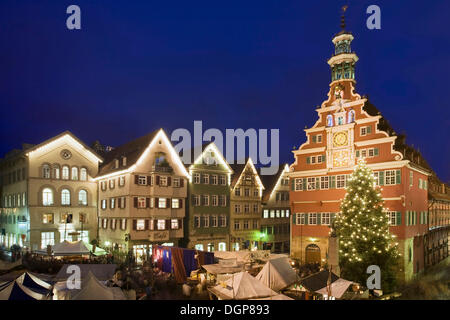 Christmas market in front of the old town hall, Esslingen am Neckar, Baden-Wuerttemberg - Stock Photo