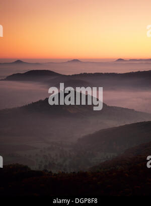 View from Breitenstein mountain across Limburg castle towards the three Kaiser mountains, near Weilheim, Swabian - Stock Photo