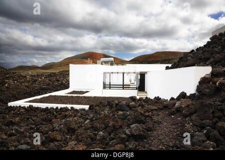 Visitors center Centro del Visitante in a lava landscape, Timanfaya National Park, Lanzarote, Canary Islands, Spain, - Stock Photo
