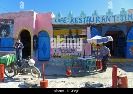 Morocco - Essaouira Cafe frequented by Jimi Hendrix in the 1960s, at Diabat. - Stock Photo