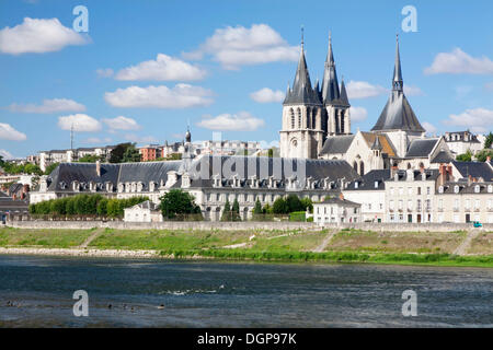 Cityscape of Blois with the Church of Saint Nicolas, department of Loire et Cher, France, Europe - Stock Photo