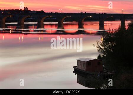 Pont Cessart Bridge, Saumur, Pays de la Loire, department of Maine et Loire, France, Europe - Stock Photo