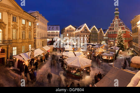 Christmas market in front of the Old Town Hall, Esslingen am Neckar, Baden-Württemberg, Germany - Stock Photo