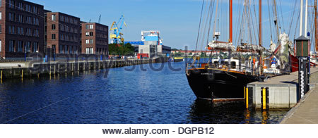 Germany, Mecklenburg Western Pomerania, View of Wismar harbour - Stock Photo