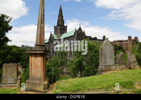 Glasgow Necropolis with Glasgow Cathedral in the background, Scotland, UK - Stock Photo