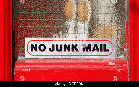 A sticker 'No Junk Mail', Skerries, County Dublin, Leinster province, Republic of Ireland, Europe - Stock Photo