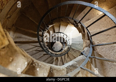 Free-standing spiral staircase in the pilgrimage church Of Our Lady, Queen of All Saints, Muehlkreis, Muehlviertel - Stock Photo