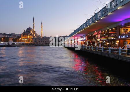 Galata Bridge, Golden Horn, New Mosque, Yeni Cami, Istanbul, european side, Turkey, Europe - Stock Photo