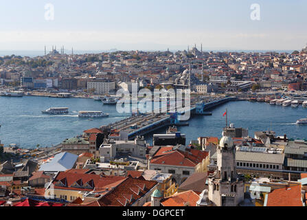 Galata Bridge, Golden Horn, Blue Mosque, left, in Sultanahmet, view from Galata Tower, Istanbul, european side, - Stock Photo