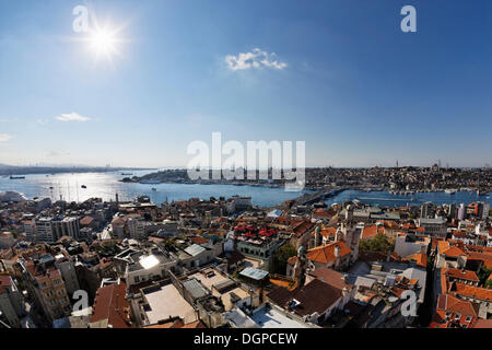 View from Galata Tower across the Beyoglu district, Bosphorus and the Golden Horn, Galata Bridge and Sultanahmet - Stock Photo