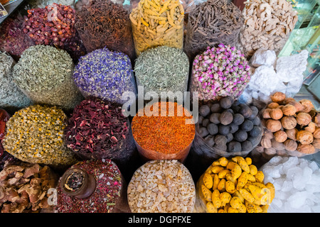 Spices and herbs for sale at Spice Souk in Deira Dubai United Arab Emirates - Stock Photo