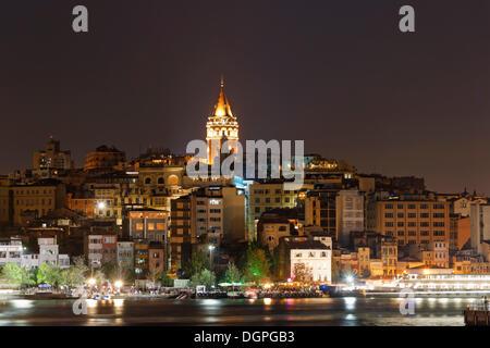 Galata Tower in Beyoglu, overlooking the Golden Horn, Istanbul, european side, Turkey, Europe - Stock Photo