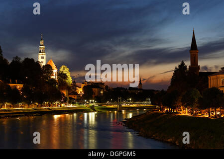 Salzach river, St. Augustine's Church in Muelln, left, Christuskirche, Christ Church, right, Salzburg, Austria, - Stock Photo